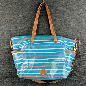 Colorful & Cute! Fossil Huge Beach Tote! EUC!